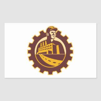 Factory Worker Mechanic With Cog Building Stickers