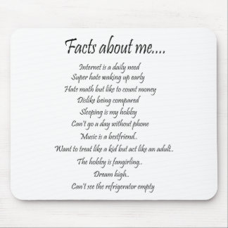 Facts about me mouse pad