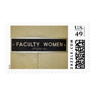 Faculty women sign postage stamps