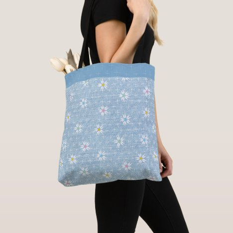 Fade light blue denim look floral tote bag