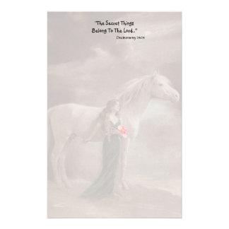 Fade Nostalgic woman & Horse comfort grief secret Stationery