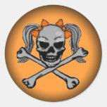 Fade to Black Round Stickers - Ponytail skull
