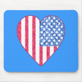 Faded American Flag Heart Tshirt Design Mouse Pad