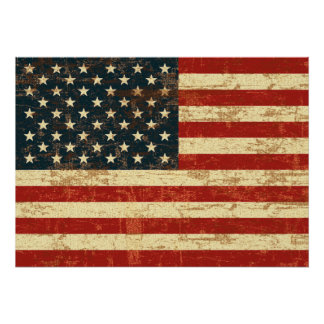 Faded American Flag Poster
