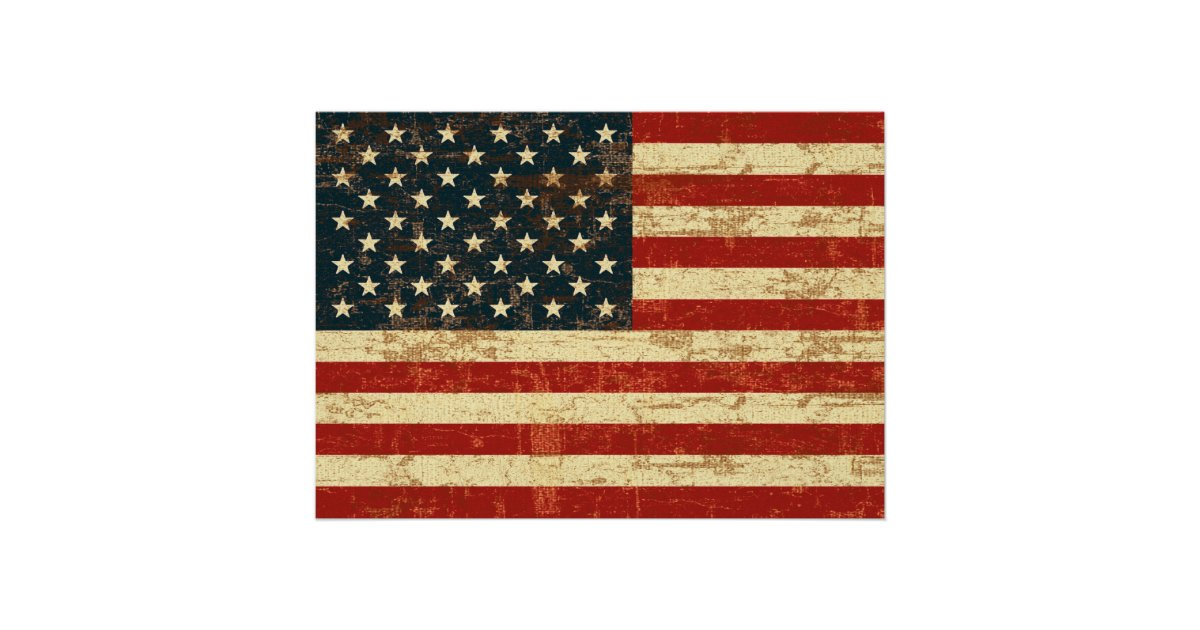 Faded American Flag Poster Zazzle Com