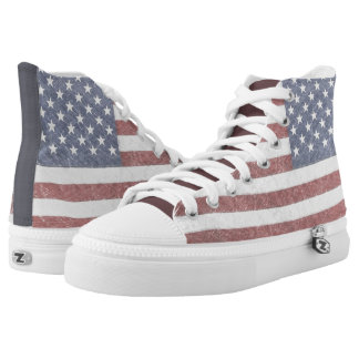 Faded American Flag Sneaks Printed Shoes