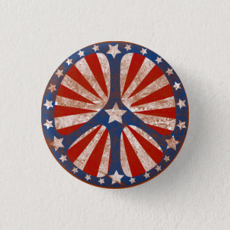Faded American Peace Sign Pinback Button