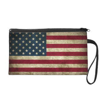 faded and grungy american flag wristlet purse