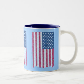 Faded and Torn but Still Glorious American Flag Two-Tone Coffee Mug