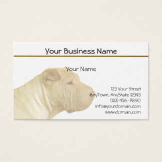 Faded Blonde Shar Pei Portrait on White Business Card