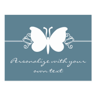 Faded Blue Butterfly Swirls Postcard