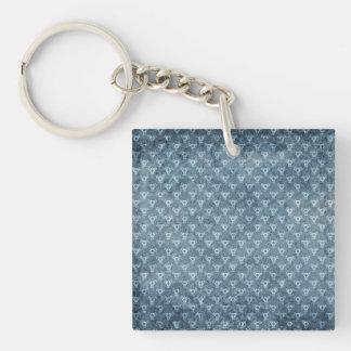 Faded Blue Denim Fabric Look baroque Keychain