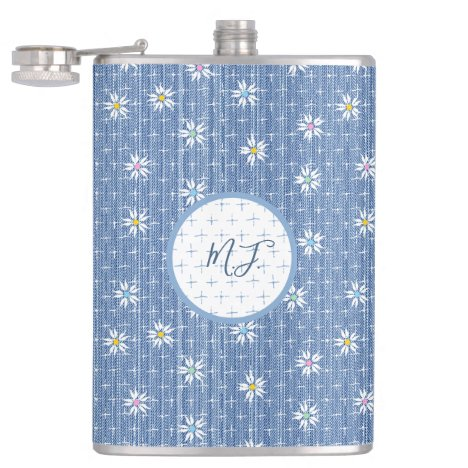 Faded blue denim floral with initials hip hip flask