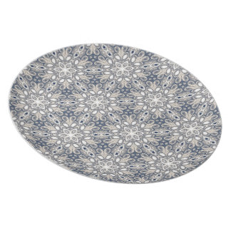 Faded Blue Floral Art Party Plates