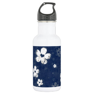 Faded Blue Floral 18oz Water Bottle