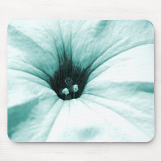 Faded blue flower macro picture mouse pad