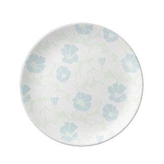 Faded Blue Flowers Porcelain Plate