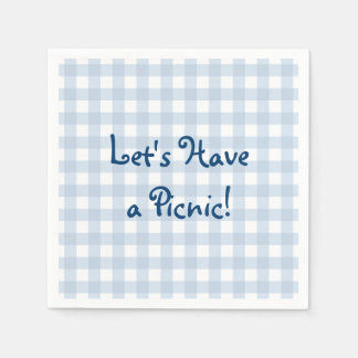 Faded Blue Gingham Picnic Paper Napkin