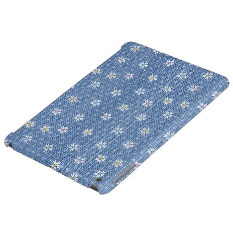 Faded blue grainy denim with cute flowers iPad air cover