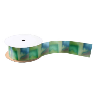 Faded Blue & Green Abstract Oil Painting Satin Ribbon