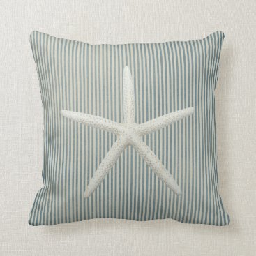 millhill Faded Blue Pin Stripes Starfish Throw Pillow