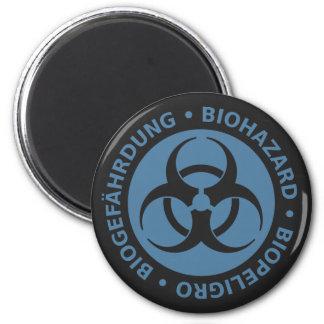 Faded Blue Trilingual Biohazard Warning 2 Inch Round Magnet