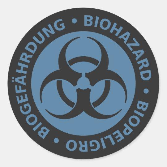 Faded Blue Trilingual Biohazard Warning Classic Round Sticker