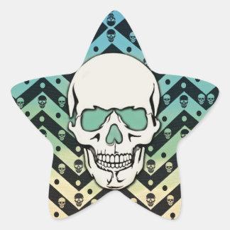Faded chevron skull pattern star sticker