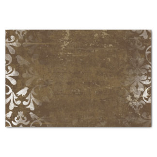 "Faded Chic Brown White Vintage Damask Pattern 10"" X 15"" Tissue Paper"