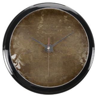 Faded Chic Brown White Vintage Damask Pattern Aquarium Clock