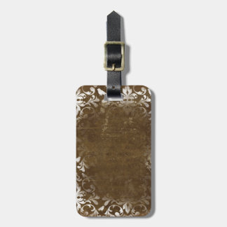 Faded Chic Brown White Vintage Damask Pattern Bag Tag