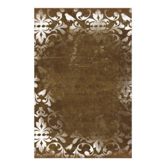 """Faded Chic Brown White Vintage Damask Pattern 5.5"""" X 8.5"""" Flyer"""