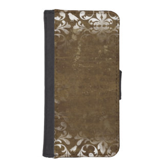 Faded Chic Brown White Vintage Damask Pattern iPhone 5 Wallets