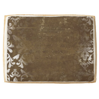 Faded Chic Brown White Vintage Damask Pattern Jumbo Cookie