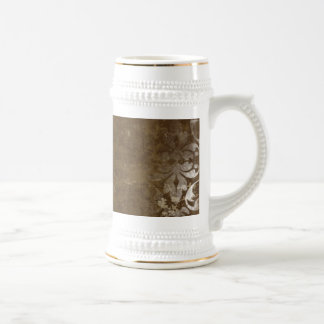 Faded Chic Brown White Vintage Damask Pattern 18 Oz Beer Stein