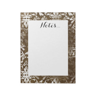 Faded Chic Brown White Vintage Damask Pattern Notepad