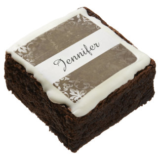 Faded Chic Brown White Vintage Damask Pattern Brownie