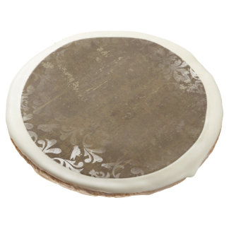 Faded Chic Brown White Vintage Damask Pattern Sugar Cookie