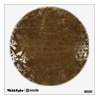 Faded Chic Brown White Vintage Damask Pattern Wall Decal