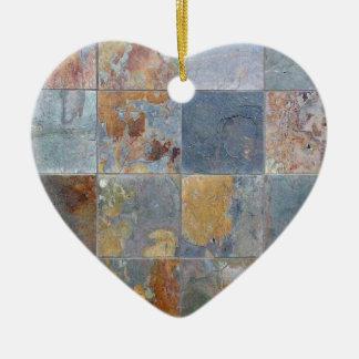 Faded chipping blue orange brick tiles ceramic ornament