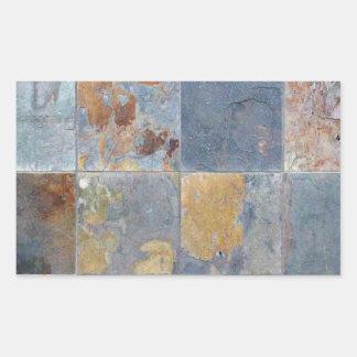Faded chipping blue orange brick tiles rectangle sticker