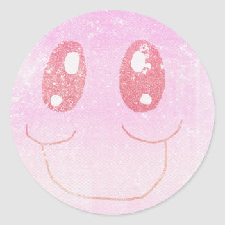 Faded  Colored Pink and Red Smiley Face  Sticker