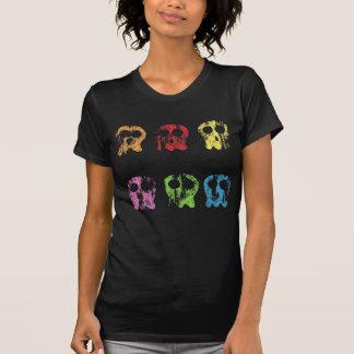Faded Colorful Skulls  Shirt