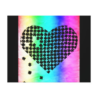 Faded Colors Puzzle Heart 2 Canvas Print