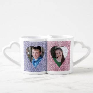 Faded Country Damask Heart His and Her Photo Mugs