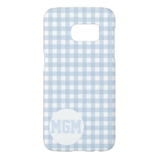 Faded Denim Blue Classic Gingham Monogram Samsung Galaxy S7 Case