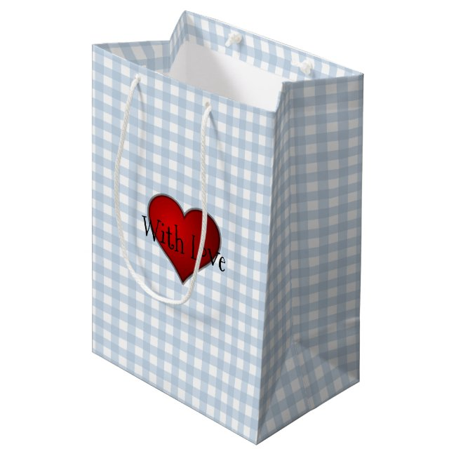 Faded Denim Blue Gingham Red heart With Love