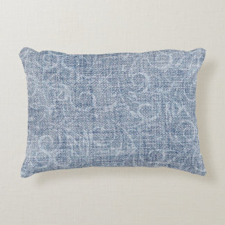 Faded Denim Fabric Accent Pillow