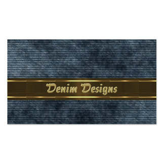 Faded denim pattern with gold band business card