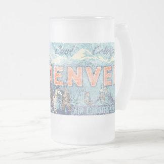 Faded Denver Frosted Glass Beer Mug